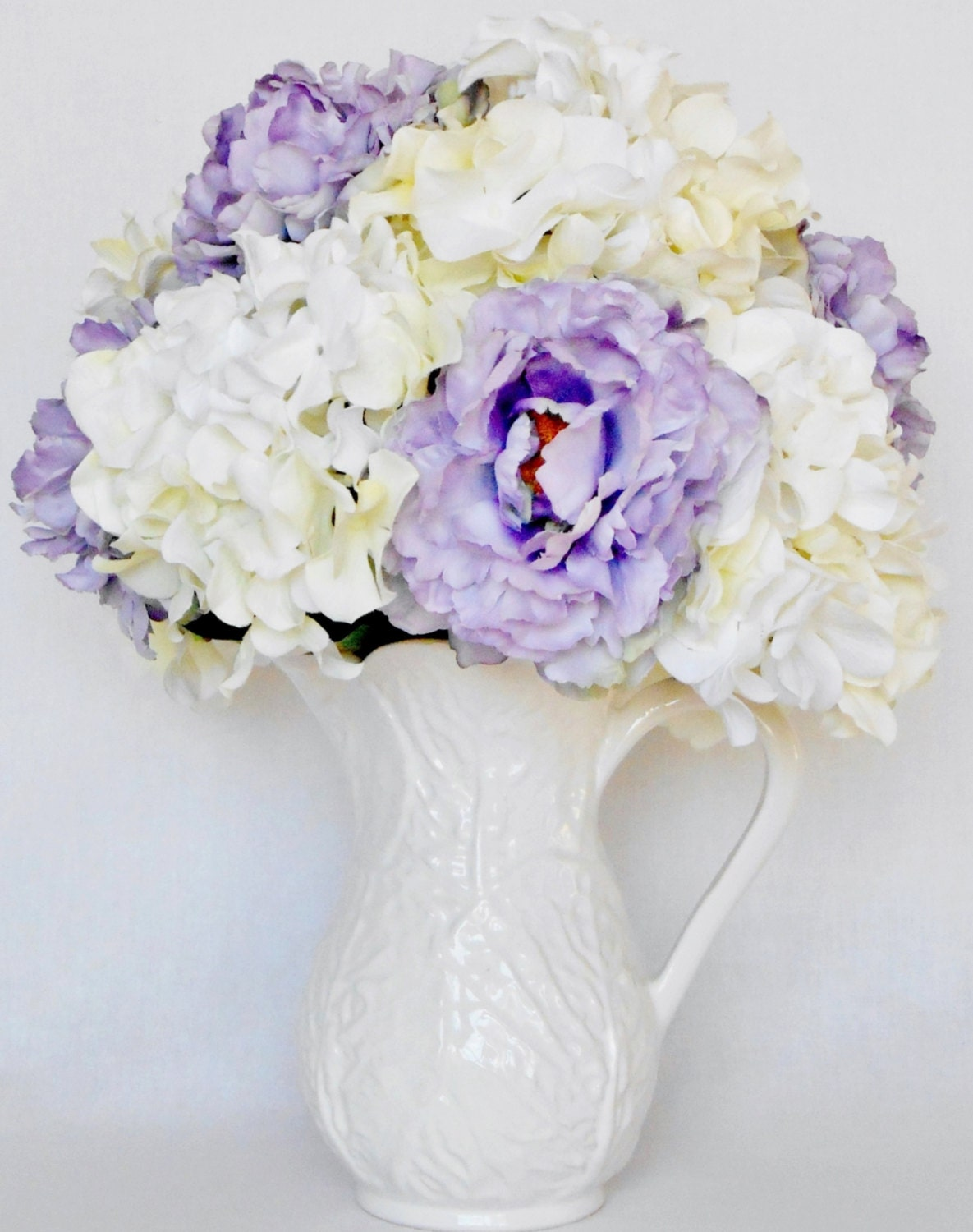 Artificial Flower Arrangement Lavender Peonies \u0026 White