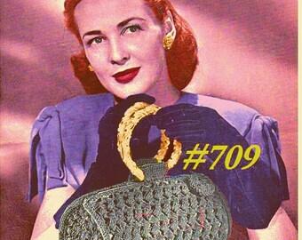 Vintage 1945 Chic Cylinder Bag Purse 709 PDF Digital Crochet Pattern