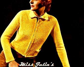 Almost FREE Vintage 1934 Slim Cropped Waistcoat Jacket 535 PDF Digital Crochet Pattern