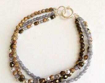 Beaded bracelet, multi-strand, gray, silver, metallic, brown, czech glass, bracelet, beads, multi-color