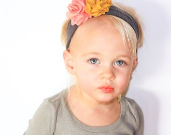 Scalloped Petal Flower Jersey Knit Headband - Baby Headband - Photo Prop