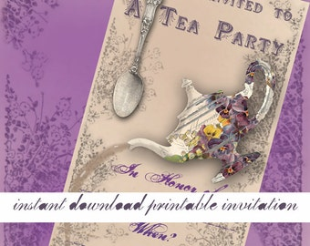 Floral Tea Party Invitation - Instant Download Printable Invitation