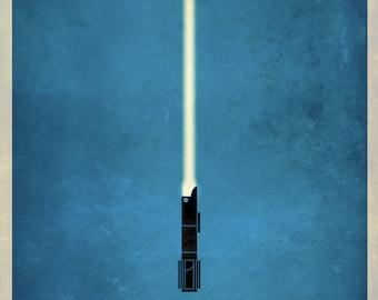 Star Wars Lightsaber Poster Prints, Minimal Design - 11 x 16 (Three Prints)