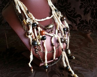 Tribal Steampunk Necklace 'The Traveller's Remembrances' an Aether Nomad piece