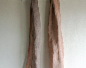 Natural Betel nut and Loquat dyed reversible Linen scarf