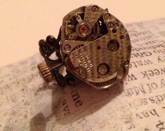 Steampunk Watch Movement Ring - Silver Adjustable Ring - Steampunk Ring - The Winder