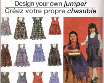 Vintage 1993 Simplicity 8638 Design Your Own Jumper Sewing Pattern Size 5-8 Breast 24-27