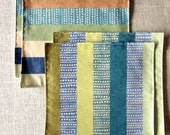 Colorful Striped Placemats/ Blue Orange Shanti Placemat, Table Linens Perfect for Small Spaces 12x12/ Set of 4