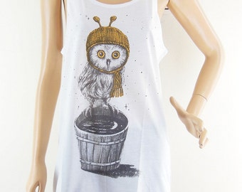 Owl TShirt Owl Tank Top Animal Tee Baby Owl TShirt Mini Dress Screen Print Size M