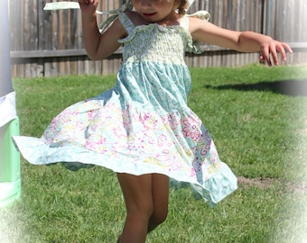 Toddler Girl Twirly Sundress with Shirred Bodice and Tie Straps