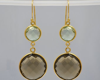 Smokey Quartz earrings - Green Amethyst earrings - bezel set Earrings - Double Drop Earrings - gold earrings, long earrings, dangle earrings