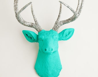 Faux Deer Head - The Chloe - Turquoise W/ Silver Glitter Antlers Resin Deer Head- Stag Resin White Faux Taxidermy