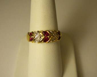 14K Yellow Gold Marquee Ruby and Diamond Ring R199