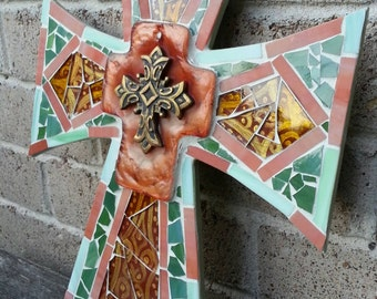 Mosaic Wall Cross - Glorious Hand Painted Amber Orange Green Glass