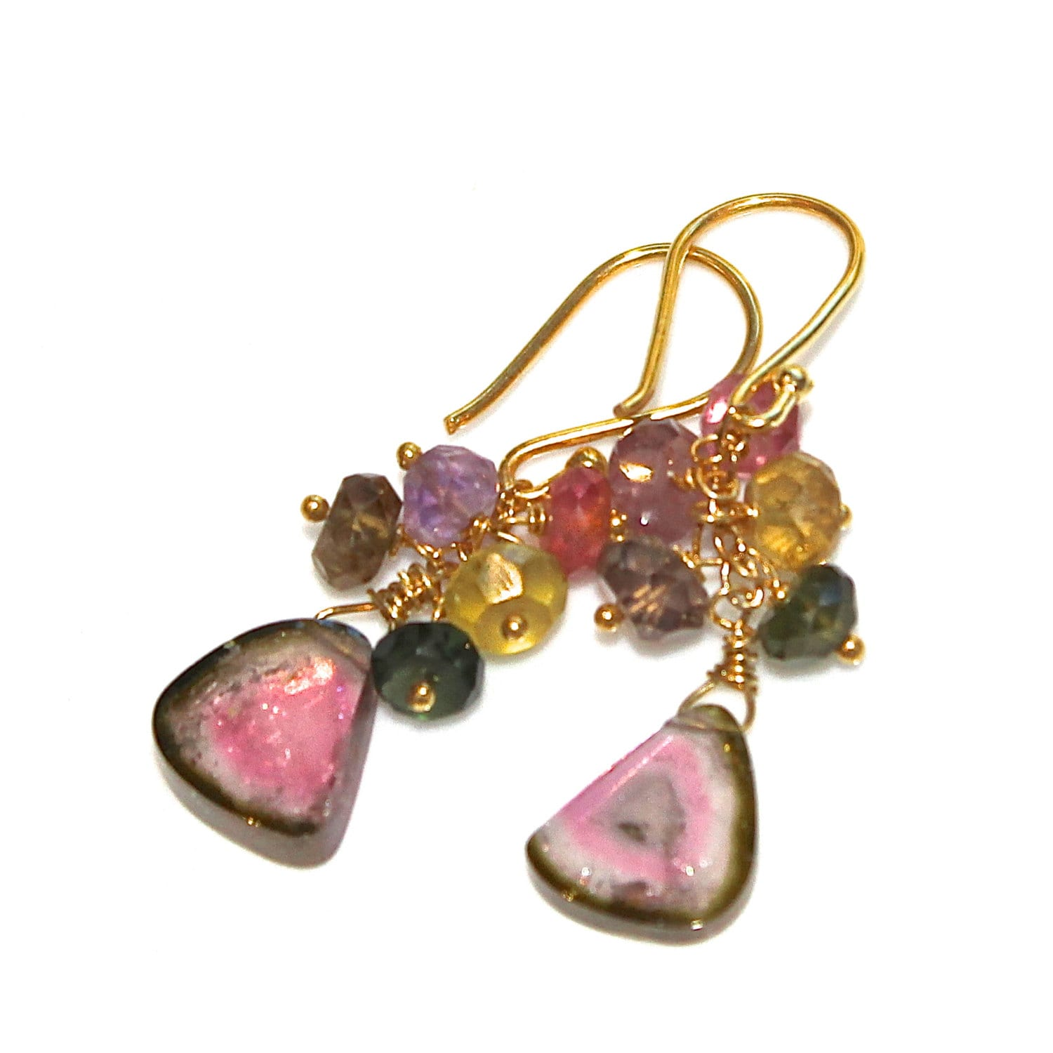 watermelon tourmaline slice earrings pastel tourmaline