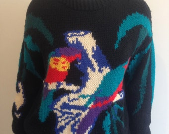 Wool Knitted Australiana Parrot Jumper, Homemade Size 8/10/12 Au
