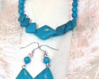Turquoise Bracelet & Earrings Set Handmade Jewelry