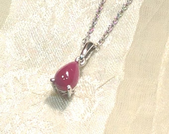 Natural Ruby Teardrop Necklace in Platinum Handmade by NorthCoastCottage Jewelry Design