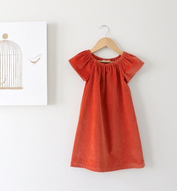 Toddler Girls Velvet Peasant Dress Rust Orange-Vintage Inspired Winter Dress-Girls Jumper-Shabby Chic Tunic -Children Clothing Chasing Mini