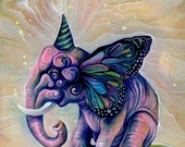 pink elephant, canvas print, 11x14 size, butterfly elephant, giclee, ready to hang art, home decor, gift ideas, art by phresha