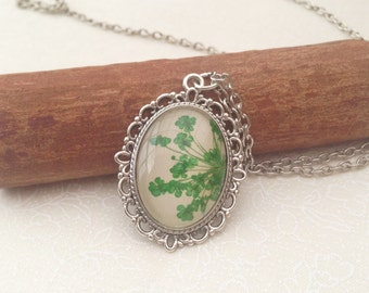 bridesmaid gift, pressed flower jewelry, personalised gifts, green necklace, gifts for mom, teachers gifts, nature jewelry, silver cameo