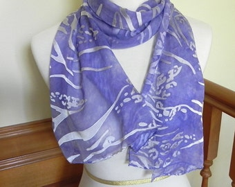 Hand Dyed Devore Satin Scarf Lavender & Silver, large long silk scarf #282, ready to ship