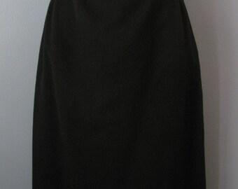 Vintage 1970's Black Cashmere & Wool Skirt