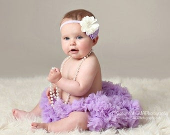 Baby headband, Ivory and lavender, newborn headband, toddler headband, infant, baby bow, girl bow, flower headband, Newborn photo prop
