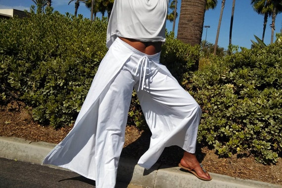 Wide Leg Cotton Wrap Pants Beach Resort Lounge Pants