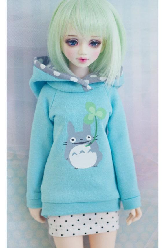 slim MSD BJD Unoa Minifee Bluefairy Kid Delf Hoodie Sweater Clover Totoro