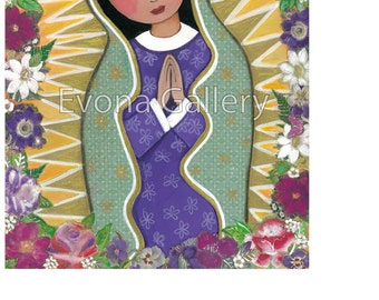 Our Lady of Guadalupe ,La Virgen De Guadalupe, Catholic Art, Christian Painting, Print  from painting 8 x 10in, Mixed Media by Evona