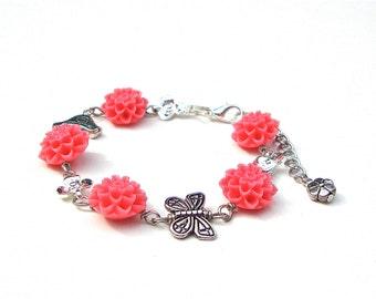 Boho bracelet, chrysanthemum bracelet, pink flower bracelet, floral jewelry, butterfly bracelet, spring accessories, silver pink jewelry