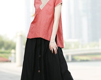 Graceful Black Linen Long Skirt C336