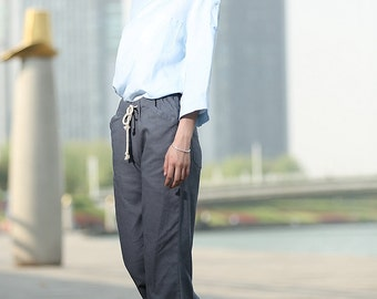 Grey linen long  Pants C375