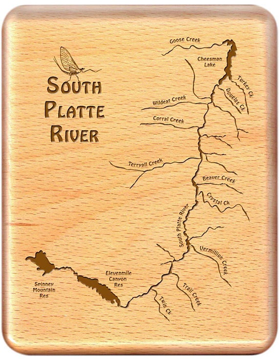 South platte river map fly fishing fly box handcrafted for South platte river fishing