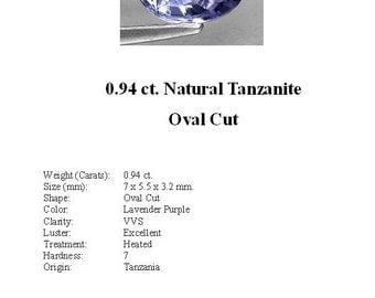 TANZANITE - 0.94 Carats of Gorgeous Lavender Purple Tanzanite in a Striking Oval Cut...