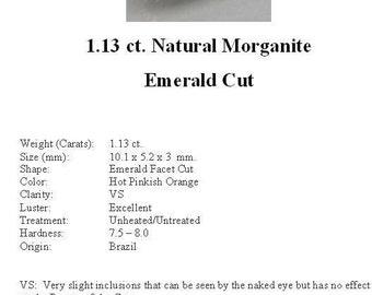 MORGANITE - Absolutely Beautiful 1.13 ct. Peachy Pink Emerald Cut Morganite...