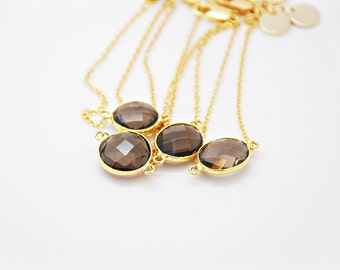 24k plated Framed Smokey Quartz Bracelet