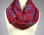 Red and Blue scarf,   infinity scarf