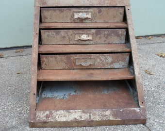 Industrial Storage Cabinet, Metal, Utility Cabinet, Vintage, Hardware Store, Mechanics Shop, Bins, Drawers, Rusty, Filing, Parts, Steampunk