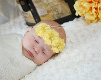 Yellow Baby Headband, Infant Headband, Newborn Headband - Yellow Headband Chiffon and Pearls Flower Headband, Easter Headband