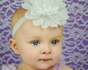 White Baby Headband, Infant Headband, Newborn Headband, Baby Headband, White Headband, White Fluffy Chiffon Petal Flower, Easter Headband