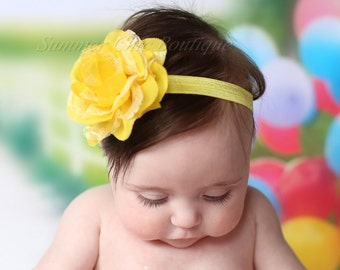 Baby Headband, Infant Headband, Newborn Headband - Bright Yellow Headband, Frayed Chiffon and Lace Flower Headband, Bright Yellow Headband