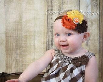 Fall Headband, Fall Baby Headband, Infant Headband, Newborn Headband Shabby Chic Headband Burnt Orange, Yellow, and Brown Rosettes