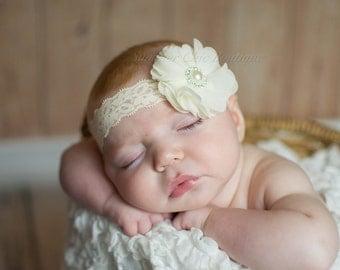 Ivory Baby Headband, Baby Headband,  Infant Headband, Newborn Headband, Baptism Headband, Christening Headband
