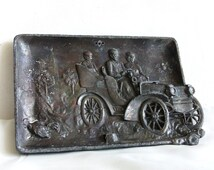 Sunday drive. Roadster relief 1920s classic car, vintage metal plaque, automobile driving, Picnic, fun country old auto driver, unique decor