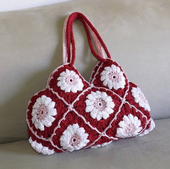 Crochet floral granny square mini purse, granny squares small evening ...