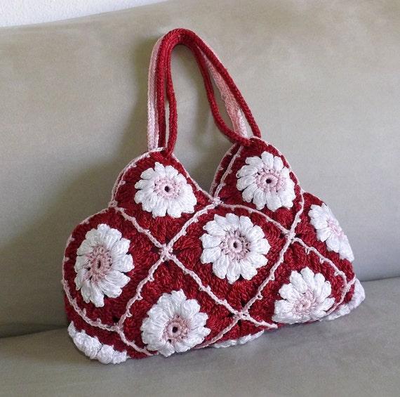 Crochet Mini Purse : Crochet floral granny square mini purse, granny squares small evening ...