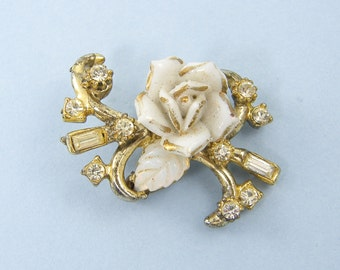 Vintage White Porcelain Flower Gold Rhinestone Pin Brooch