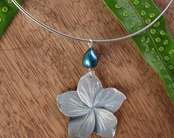 Plumeria Necklace, Mother of Pearl Plumeria, Hawaii Flower Pendant, Blue Pearl Plumeria, Silver Plumeria, Beach Wedding, Flower Jewelry